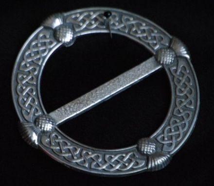 "Ladycrow Large Pewter Scarf Ring ""Celtic Knot with Thistles"""